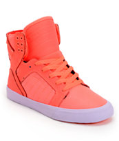 Supra Womens Skytop Neon Coral Leather & Nylon Shoe