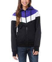 Empyre Girls Insignia Black, Purple & White Full Zip Tech Fleece Jacket