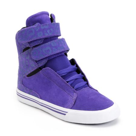 Supra Womens Society Purple Cheetah Print High Top Shoe