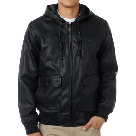 LRG Perf Black Faux Leather Jacket