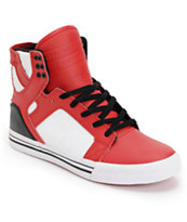 Supra Skytop Red, Black & White Leather Skate Shoe
