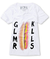 Glamour Kills Hot Diggity White Scoop Neck Tee Shirt