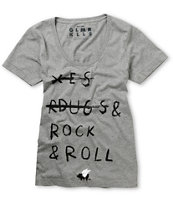 Glamour Kills Rock N Roll Heather Grey Tee Shirt