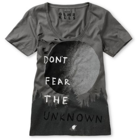 Glamour Kills Have No Fear Grey Scoop Neck Tee Shirt