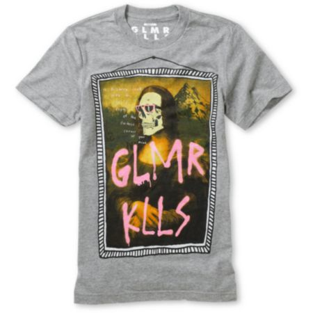 Glamour Kills What A Fine Mess Grey Crew Neck Tee Shirt