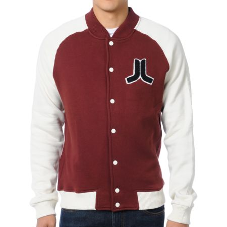 WeSC Balker Red Fleece Varsity Jacket