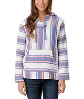 Senor Lopez Girls White Purple & Pink Light Weight Baja Poncho