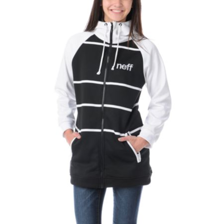 Neff Girls Lucky Black & White Tech Fleece Jacket