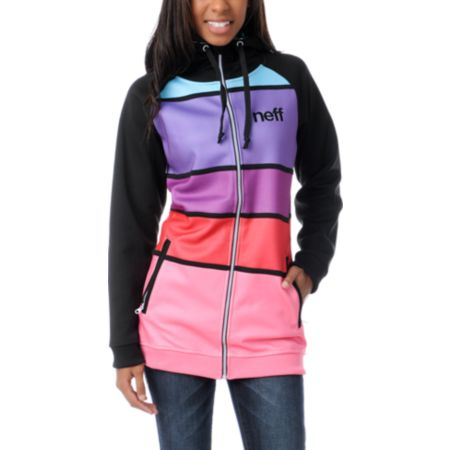 Neff Girls Lucky Black & Multi-Color Stripe Tech Fleece Jacket