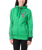 Volcom Girls Jubaea Green Full Zip Tech Fleece Jacket