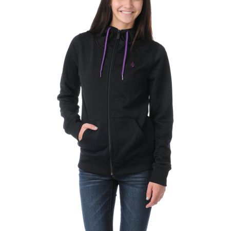 Volcom Girls Carpel 2013 Black Full Zip Tech Fleece Jacket