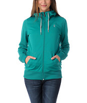 Volcom Girls Carpel 2013 Teal Full Zip Tech Fleece Jacket
