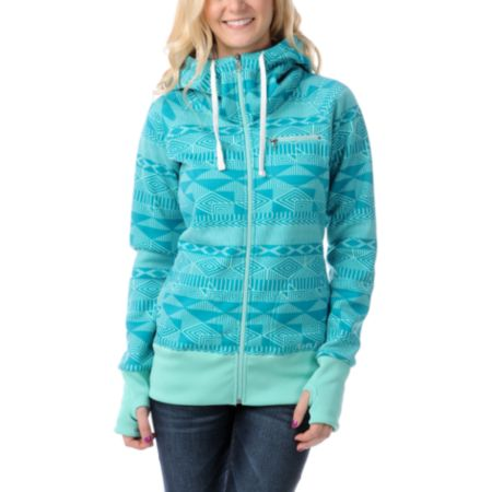Billabong Girls Little Bit Teal Full Zip Tech Fleece Jacket