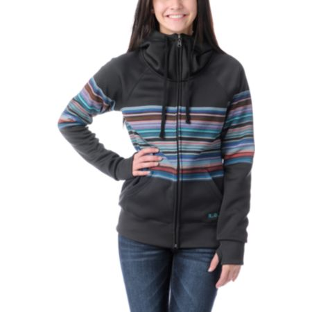 Billabong Girls Oh My Stripe Full Zip Tech Fleece Jacket