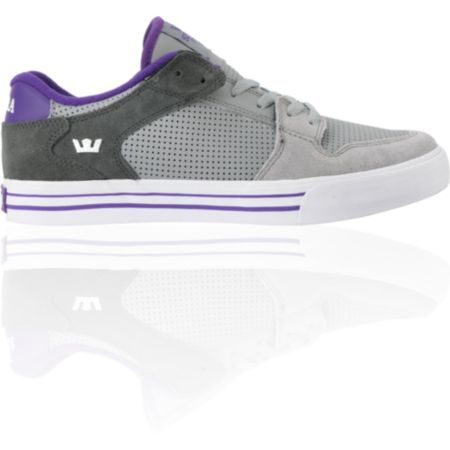 Supra Vaider Low Grey, Dark Grey & Purple Leather Skate Shoe