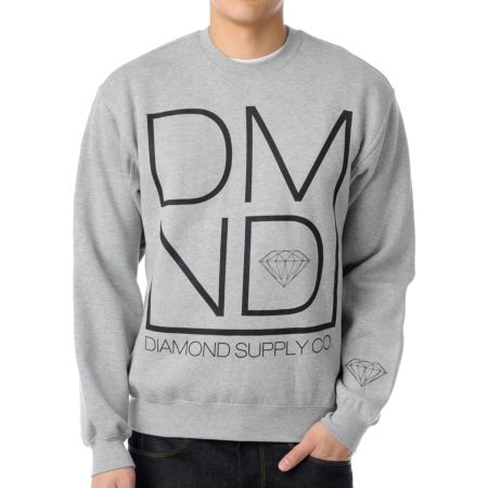 Diamond Supply DMND Grey Crew Neck Sweatshirt
