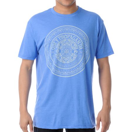 Obey Psychedelic Records Royal Heather Tee Shirt