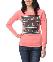 Glamour Kills Class Of 86 Pink Crew Neck Fleece Sweatshirt