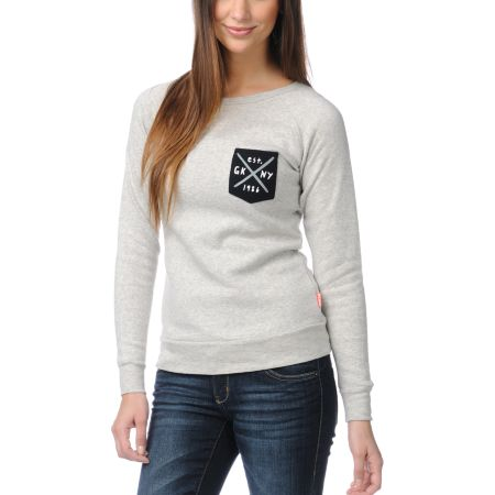 Glamour Kills Still Searching Heather Grey Crew Neck Sweatshirt