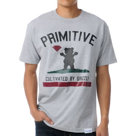 Primitive x Grizzly x Diamond Cultivated Grey Tee Shirt