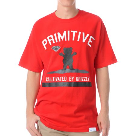 Diamond x Grizzly x Primitive Cultivated Red Tee Shirt