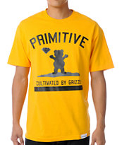Primitive x Grizzly x Diamond Cultivated Yellow Tee Shirt