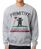 Diamond x Grizzly x Primitive Cultivated Grey Crew Neck Sweatshirt