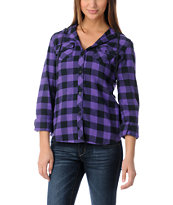Empyre Girls Conifer Purple Buffalo Plaid Hooded Flannel Shirt