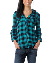 Empyre Girls Conifer Teal Buffalo Plaid Hooded Flannel Shirt