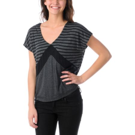 Empyre Girls Roslyn Black & Charcoal Stripe Tee Shirt