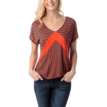 Empyre Girls Roslyn Fire Red & Charcoal Stripe Tee Shirt
