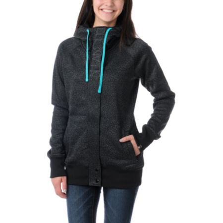 Billabong Girls Holly Full Zip Black Tech Fleece Jacket
