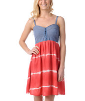 Love, Fire Coral Tie Dye Eyehook Bodice Dress