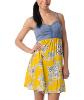Love, Fire Yellow Floral Eyehook Bodice Dress