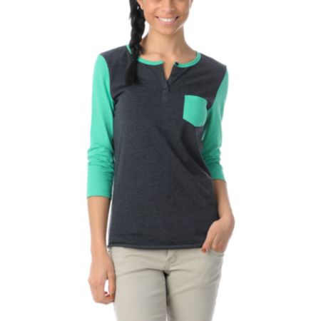 Zine Girls Princess Green & Charcoal Henley Shirt