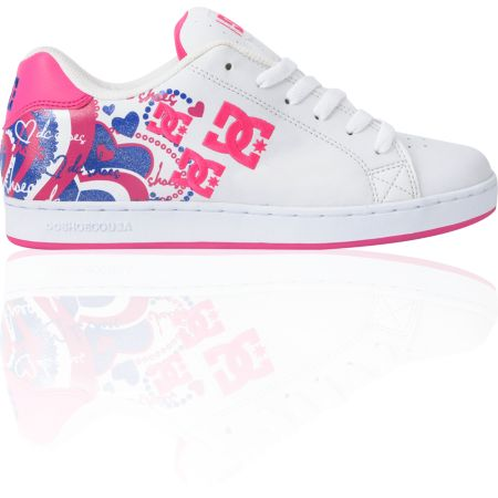 DC Shoes Girls Pixie I Heart White, Crazy Pink & Silver Shoe