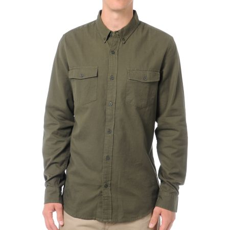 Analog Brody Army Long Sleeve Flannel Shirt