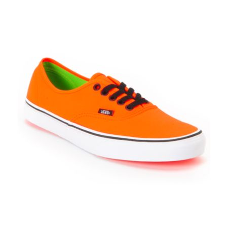 Vans Authentic Neon Orange & Green Shoe