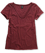 Zine Girls Burgundy Red Raw Edge V-Neck Tee Shirt