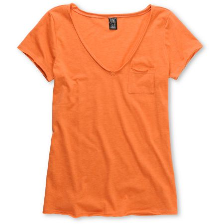 Zine Girls Orange Raw Edge V-Neck Tee Shirt