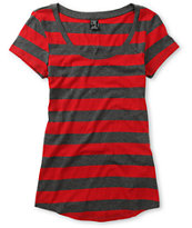Zine Girls Charcoal & Jester Red Stripe Tee Shirt