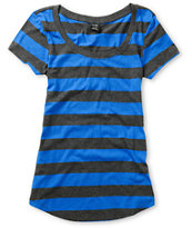 Zine Girls Charcoal & Princess Blue Stripe Tee Shirt