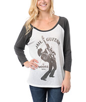 Obey Girls Wayne Jail Guitar Doors Baseball Tee Shirt