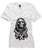 Obey Girls Masters Of War V-Neck Tee Shirt