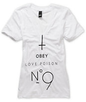 Obey Girls No. 9 White V-Neck Tee Shirt