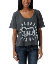 Obey Girls Keith Haring Baby Vintage Crop Tee Shirt