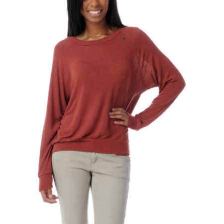 Obey Thayer Boyfriend Fit Rust Red Raglan Top