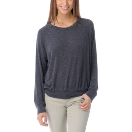 Obey Thayer Boyfriend Fit Slate Grey Raglan Top