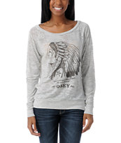 Obey Good Relations Heather Grey Raglan Top