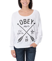 Obey Girls Crossed Arrows White Raglan Top